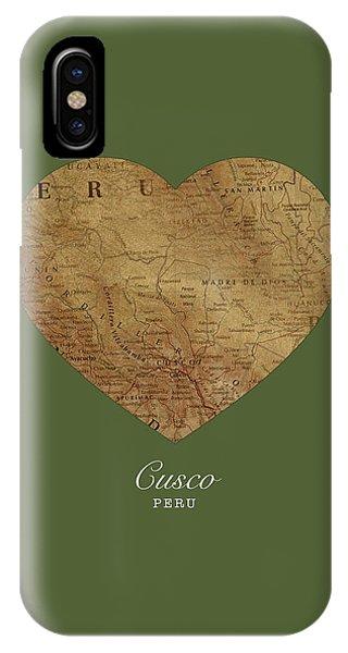 Peru iPhone Case - I Heart Cusco Peru Street Map Love Series No 095 by Design Turnpike