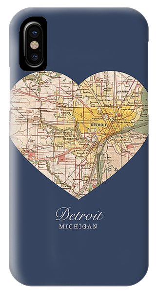 Hearts iPhone Case - I Heart Detroit Michigan Vintage City Street Map Americana Series No 001 by Design Turnpike