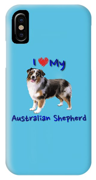IPhone Case featuring the digital art I Heart My Australian Shepherd by Becky Herrera