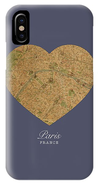 French iPhone Case - I Heart Paris France Street Map Love Series No 089 by Design Turnpike