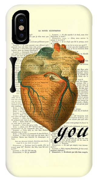 Anatomy iPhone Case - I Heart You by Madame Memento