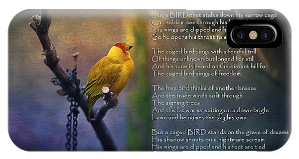 Maya iPhone Case - I Know Why The Caged Bird Sings By Maya Angelou by Maria Angelica Maira