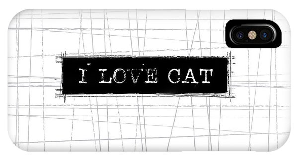 Cat iPhone Case - I Love Cat Word Art by Kathleen Wong