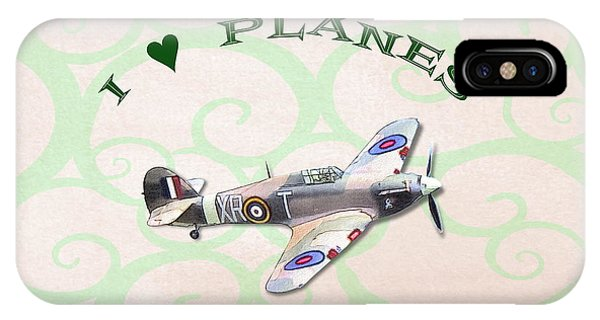 IPhone Case featuring the digital art I Love Planes - Hurricane by Paul Gulliver