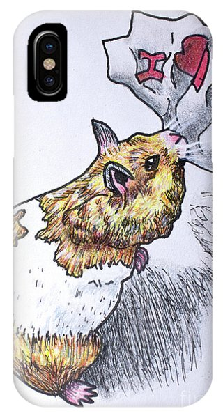 Hamster iPhone Case - I Love You Valentine by Cecille Gagne