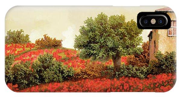 Poppies iPhone Case - I Papaveri Sulla Collina by Guido Borelli