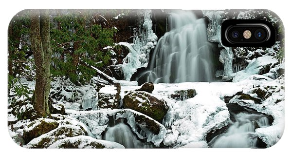 Ice And Snow, Mouse Creek Falls, Great Smoky Mountain National Park IPhone Case