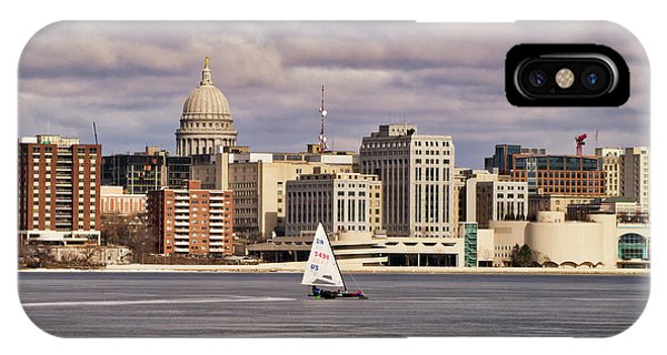 Ice Boat And Capitol - Madison  - Wisconsin IPhone Case