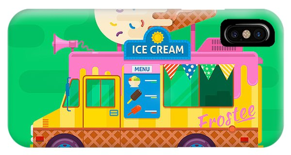Frozen Food iPhone Case - Ice Cream Van Delivery.street Food Truck Vector Illustration.flat Vector Illustration by Dmytro Novitskyi