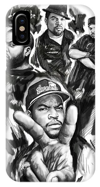 Ice Cube Blackwhite Group Art Drawing Poster IPhone Case