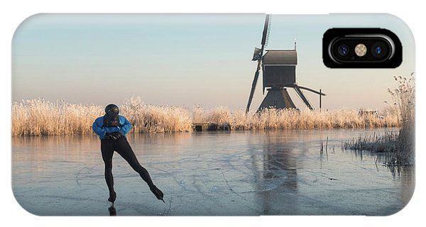 Ice Skating Past Frosted Reeds And A Windmill IPhone Case