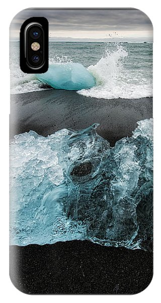 IPhone Case featuring the photograph Iceberg And Black Beach In Iceland by Matthias Hauser