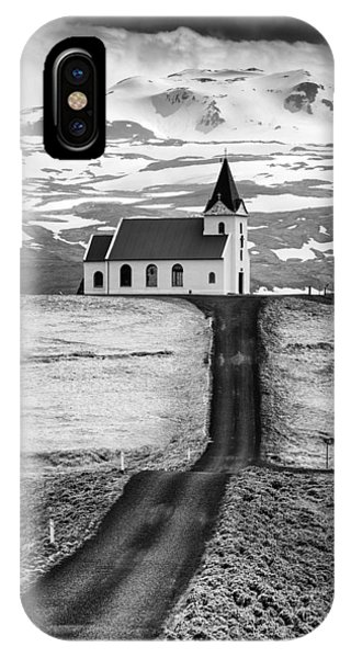 Iceland Ingjaldsholl Church And Mountains Black And White IPhone Case