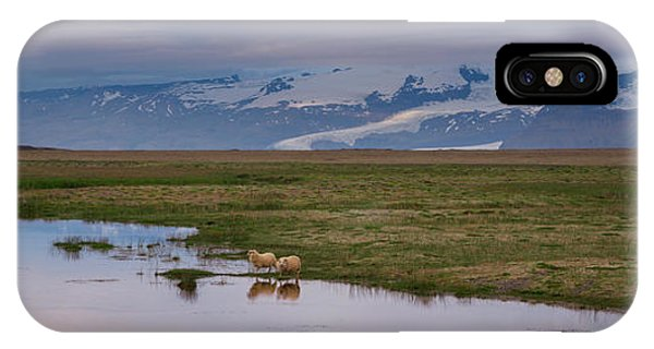 Iceland Sheep Reflections Panorama  IPhone Case