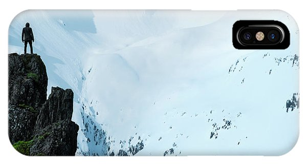Reindeer iPhone Case - Iceland Snow Covered Mountains by Larry Marshall