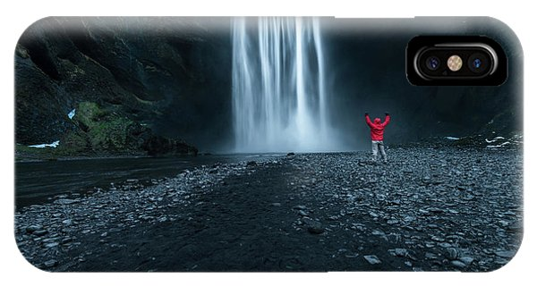 Reindeer iPhone Case - Iceland Waterfall by Larry Marshall