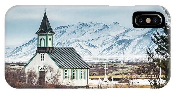 Icelandic Church, Thingvellir IPhone Case