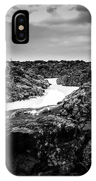 Icelandic Silica Stream In Black And White IPhone Case