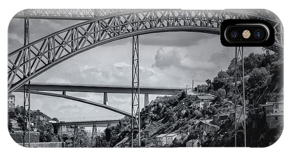 Iconic Bridges Of Porto In Black And White  IPhone Case