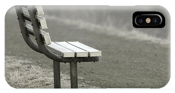 Icy Bench In The Fog IPhone Case