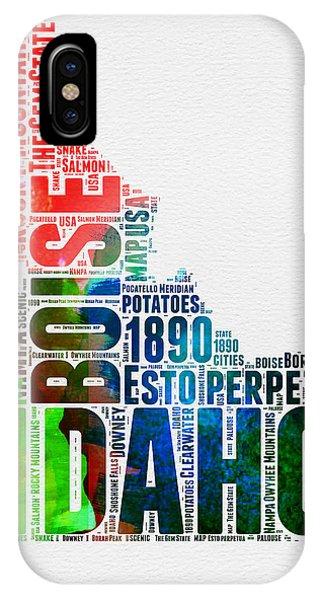 Typography iPhone Case - Idaho Watercolor Word Cloud  by Naxart Studio