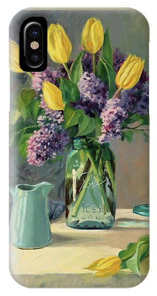 Ideal - Yellow Tulips And Lilacs In A Blue Mason Jar IPhone Case