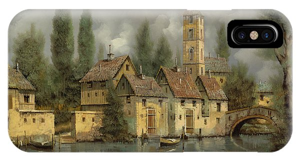 IPhone Case featuring the painting Il Borgo Sul Fiume by Guido Borelli