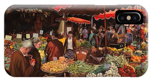Basket iPhone Case - Il Mercato Di Quartiere by Guido Borelli