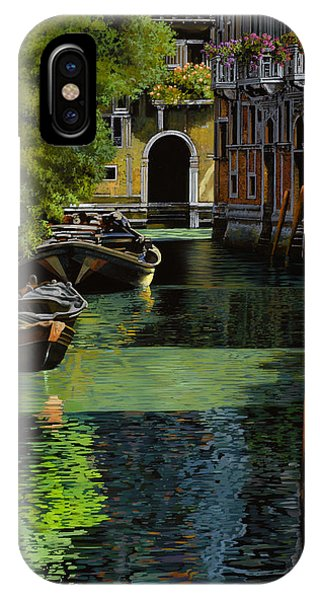 IPhone Case featuring the painting il palo rosso a Venezia by Guido Borelli