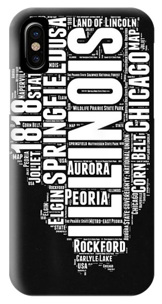 Midwest iPhone Case - Illinois Black And White Word Cloud Map  by Naxart Studio