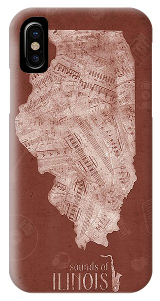 University Of Illinois iPhone Case - Illinois Map Music Notes 5 by Bekim Art