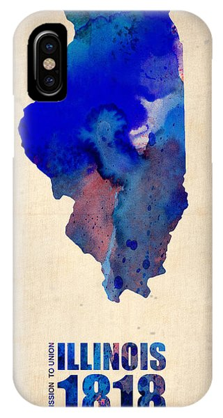 University Of Illinois iPhone Case - Illinois Watercolor Map by Naxart Studio