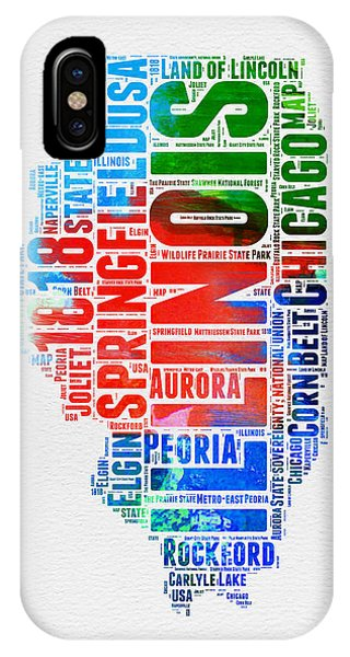 Chicago Art iPhone Case - Illinois Watercolor Word Cloud Map  by Naxart Studio