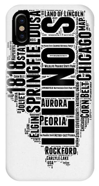 Chicago Art iPhone Case - Illinois Word Cloud Map 2 by Naxart Studio