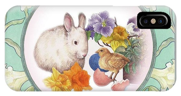 Illustrated Bunny With Easter Floral IPhone Case