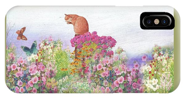 Illustrated Cat In Garden IPhone Case