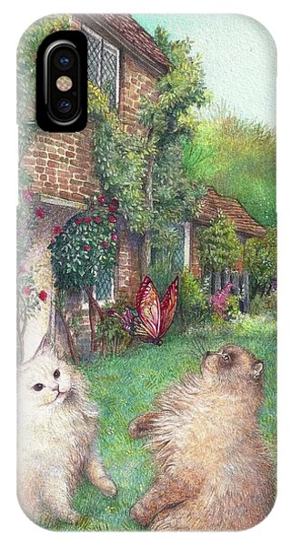 Illustrated Cats In English Cottage Garden IPhone Case