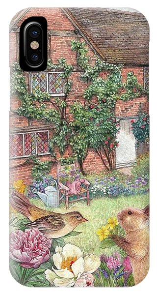 Illustrated English Cottage With Bunny And Bird IPhone Case