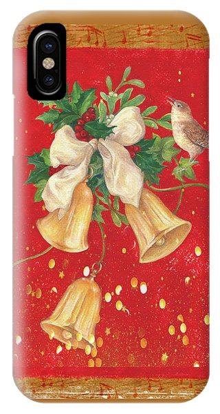 Illustrated Holly, Bells With Birdie IPhone Case