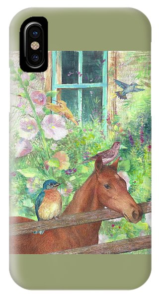 Illustrated Horse And Birds In Garden IPhone Case