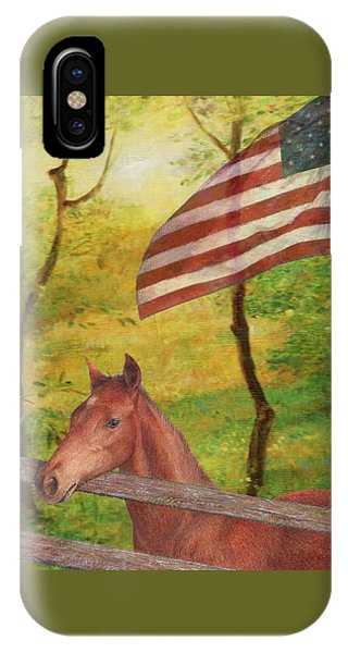 Illustrated Horse In Golden Meadow IPhone Case