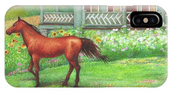 Illustrated Horse Summer Garden IPhone Case