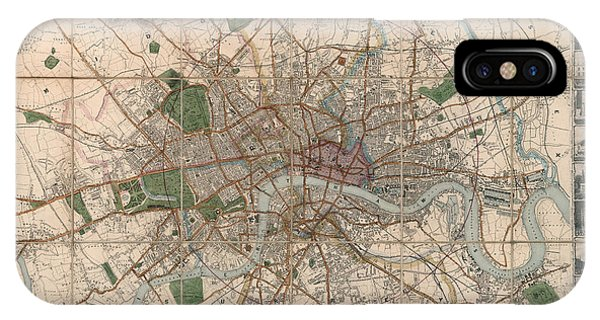 Illustrated Plan Of London And Its Environs - Map Of London - Historic Map - Antique Map Of London IPhone Case