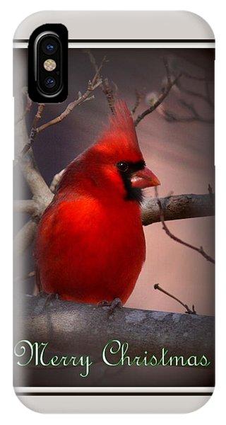 Img_3158-005 - Northern Cardinal Christmas Card IPhone Case