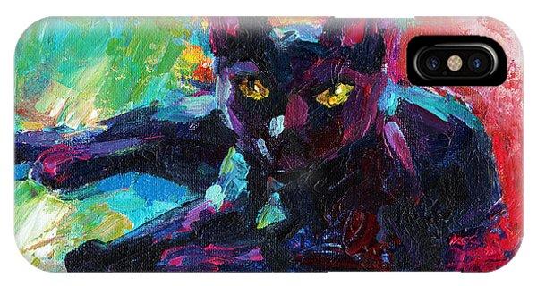 Impressionistic Black Cat Painting 2 IPhone Case