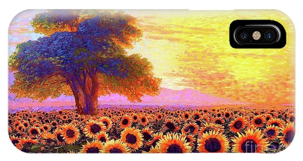 Fall Scenes iPhone Case - In Awe Of Sunflowers, Sunset Fields by Jane Small