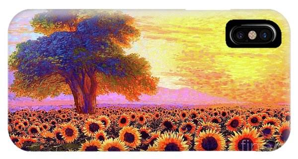 Sunflower iPhone Case - In Awe Of Sunflowers, Sunset Fields by Jane Small