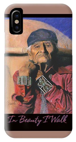 In Beauty I Walk - Original Pastel - Navajo Medicine Man IPhone Case