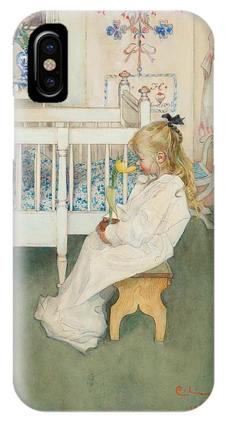 Art And Craft iPhone Case - In Nightshirt - Lisbeth With A Yellow Tulip by Carl Larsson
