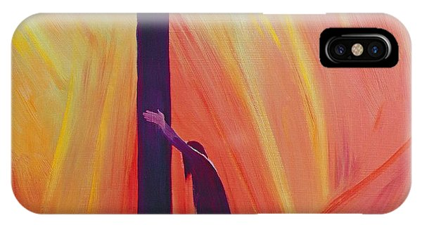 Crucifixion iPhone Case - In Our Sufferings We Can Lean On The Cross By Trusting In Christ's Love by Elizabeth Wang